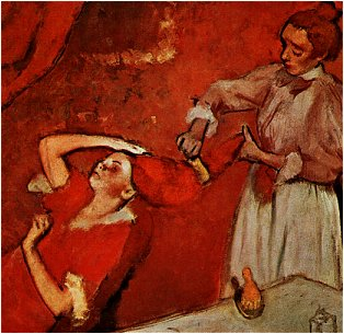 Degas Painting of a women with long red hair