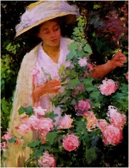 Woman with a rose bush