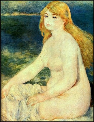 Women with Long Hair Bathing by Renoir